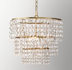 RH Baby & Child's Soho Crystal Large Pendant - Antiqued Brass:Soho's tiered geometry and lavish crystals evoke Art Deco glamour, radiating a glittering warmth – welcome in any era – wherever it hangs.SHOP THE ENTIRE COLLECTION ▸ Bathroom Chandelier, Art Deco Chandelier, Gold Chandelier, Chandeliers, Chandelier Ideas, Chandelier Lighting, Closet Lighting, Bedroom Lighting, Nightlights