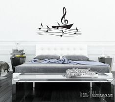 Sail boat music note wall decal music wall decal by ValdonImages #musiclover #musicnote #homedecor