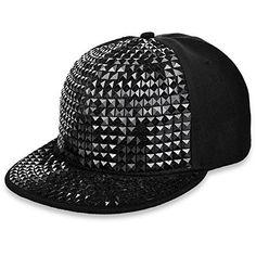 79555061a26 Vbiger Pyramid Studs Bling Flat Hip Hop Cap Black on Black - Kreative Life