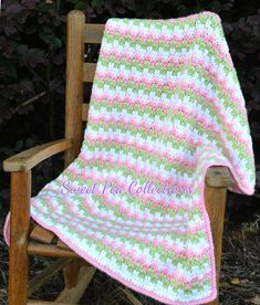 Pink White and Green Striped Baby Blanket by sweetpeacollections