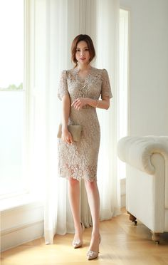Korean Women`s Fashion Shopping Mall, Styleonme. Dress Brokat Modern, Casual Dresses, Fashion Dresses, Women's Fashion, Dress Brukat, Simple Cocktail Dress, Korean Dress, Floral Lace Dress, Korean Fashion