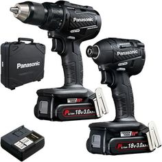 *CLICK TO ENLARGE* Panasonic EYC217 18V brushless combi drill & impact driver twin pack with 2x 3Ah batteries