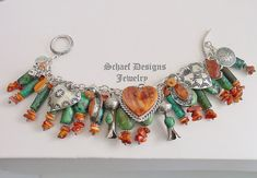Schaef Designs turquoise, orange spiny, chrysocolla & sterling silver heart southwestern charm bracelet  | New Mexico
