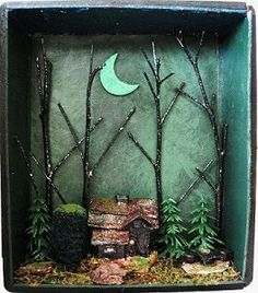 Halloween Haunted House Witch Shadow Box Gothic Miniature Spooky Forest on Etsy, $75.00