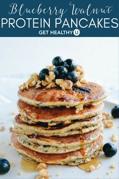 These protein pancakes are perfect post-workout with 18 grams of protein per two pancakes and 8 grams of fiber, there's no reason why you can't. Our protein pancakes are naturally sweetened with banana and blueberries and get their protein punch fromprotein powder, walnuts and eggs. Plus, they could not be simpler to make – just throw all the ingredients in your blender and you've got the perfectly smooth pancake batter in no time. And they're made without any flour and are dairy free!
