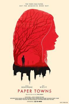 """Poster Ilustrado de Paper Towns.""""Ciudades de Papel"""" (Movie 2015) libro de John Green"""