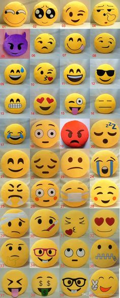** These emoji pillows would be great for helping kids and teens explain their emotions. **cg** 40 Styles Soft Emoji Smiley Cushions Pillows Cartoon Facial QQ Emotions Pillow Yellow Round Cushion Stuffed Plush Toy Gift For Baby Kids Rock Crafts, Felt Crafts, Diy And Crafts, Crafts For Kids, Arts And Crafts, Cute Pillows, Diy Pillows, Sewing Projects, Craft Projects