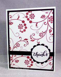 Floral thank you card made with Flowering Flourishes and Another Thank You stamp sets from Stampin' Up!