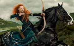 Джессика Честейн в образе принцессы Мериды из мультфильма «Храбрая сердцем»