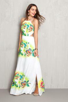 Vestido longo estampado floral localizado | Dress to