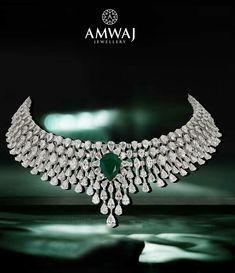 A statement of regality and elegance by amwaj jewellery Wedding Jewellery Designs, Bridal Jewelry, Jewelry Design, Pendant Set, Diamond Pendant, Real Diamond Necklace, Stone Necklace, Emerald Jewelry, Diamond Jewelry