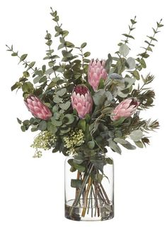 Fake Flowers Decor, Artificial Flower Arrangements, Vase Arrangements, Beautiful Flower Arrangements, Exotic Flowers, Artificial Flowers, Flower Decorations, Dried Flowers, Pink Flowers