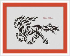Cross Stitch Pattern Horse-fire monochrome by HallStitch on Etsy