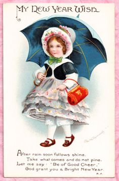 A/S ELLEN CLAPSADDLE PRETTY GIRL BRINGS NEW YEAR GREETINGS LOVELY VINT. POSTCARD #NewYear