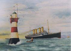 ALEMANIA Roter Sand, Estuario del Weser, Mar del Norte; y buque Kaiser Wilhelm der Grosse