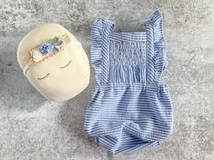 Newborn Girl Prop Outfit - Blue & White Stripe Romper and Headband Set Photo Outfit - READY TO SHIP by wrenandwillowdesigns on Etsy