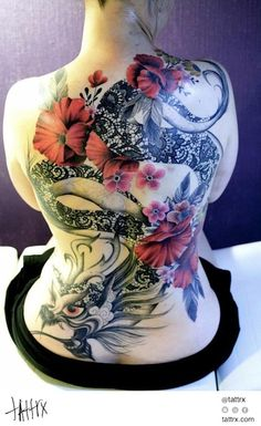 Dodie - Lace Dragon with Red Flowers   Tattrx
