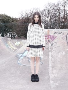 Danielle Romeril A/W look book Fall Winter, Autumn, Lace Skirt, Attitude, High Neck Dress, Skirts, Cute, Sweaters, How To Wear
