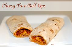 Dinner Meal - Cheesy Taco Roll Up Recipe! Prepare in a couple of minutes with left over chicken taco meat! Roll Ups Recipes, Wrap Recipes, Recipe Using Tortillas, Taco Roll Ups, My Favorite Food, Favorite Recipes, Most Delicious Recipe, Mexican Food Recipes, Mexican Meals