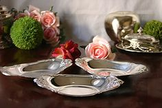 Vintage Set of 3 Oval Silver Dishes Trays by InventifDesigns