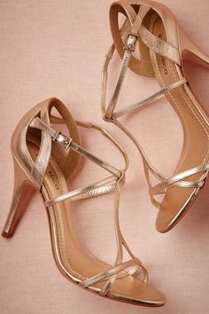 Complete your wedding day look with a pair of classic bridal shoes. BHLDN offers wedding heels that are as beautiful as they are comfortable, no matter your venue. Shop wedding shoes for the bride now! Pretty Shoes, Beautiful Shoes, Bridal Shoes, Wedding Shoes, Wedding Dresses, Keds, Gold Strappy Heels, Metallic Heels, Strappy Sandals