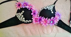 Daisies & Diamonds Rave Bra on Etsy, $45.00