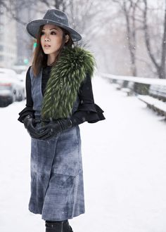Land of Greys – http://tsangtastic.com | Instagram @tsangtastic The Outnet, Iris and Ink, Vince, Suede Dress, New York Fashion Week, Snowing, Outfit