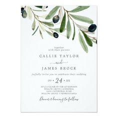 Modern Olive Wedding Invite with elegant yet rustic watercolor botanical green leaves and black olives on a branch with a classic mediterranean feel. Click to customize with your personalized details today. Invitation Paper, Custom Invitations, Invite, Wedding Invitations, Colored Envelopes, White Envelopes, Olive Wedding, Envelope Liners, Paper Texture