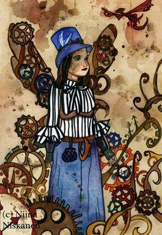 Steam punk Fairy Art - ACEO Fairy art print - Steampunk illustration- Open edition print - Fantasy Art by Niina Niskanen