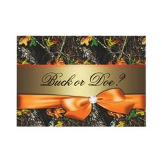 Gender Reveal - Orange Camo Baby Shower Invitation from Zazzle.com