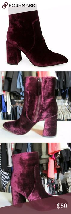 "Steve Madden Jaque Flared Heel Velvet Booties Retro feel silhouette ankle boots. Plush velvet upper, man made outsole. Self-covered 3.5"" flared heel. Pointy toe. Inside zip. Never worn outdoors, but tried on in store. In original box. US size 9.5. Steve Madden Shoes Ankle Boots & Booties"