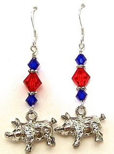 Pig Earrings on Sterling Hooks -  Iron Pigs Colors available