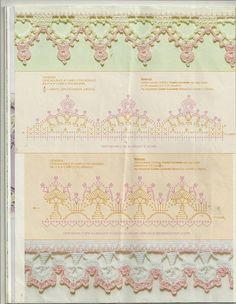 Veronica crochet y tricot. Crochet Lace Edging, Crochet Borders, Crochet Chart, Thread Crochet, Filet Crochet, Irish Crochet, Crochet Doilies, Easy Crochet, Crochet Stitches