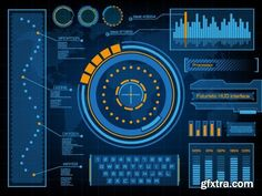 Abstract future, concept vector futuristic blue virtual graphic touch user interface HUD set, 20 x EPS