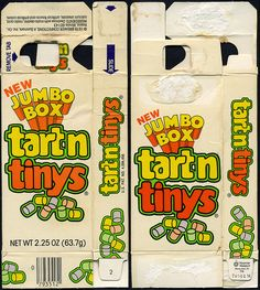"""Breaker Confections - pre-Willy Wonka - Tart'n Tinys """"New Jumbo box"""" candy box - 1979 