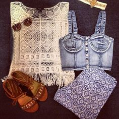 Crochet Crew #Denim #Crochet #Sandals #Summer #Sunnies #OOTD