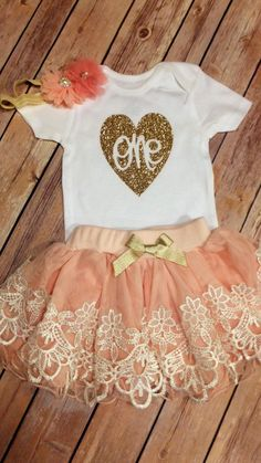 1st Birthday Girl Outfit, CUSTOMIZE, First birthday outfit, Peach and Lace tutu, Girls birthday outfit, Cake smash, photo prop Princess Tutu by CountryHeartDesignz on Etsy https://www.etsy.com/listing/258816141/1st-birthday-girl-outfit-customize-first