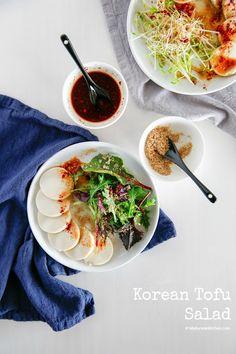 Korean Tofu Salad with Honey Soy Chilli Vinaigrette | MyKoreanKitchen.com