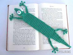Amigurumi marque page Gecko crocheté - Supergurumi Marque-pages Au Crochet, Crochet Mandala, Crochet For Boys, Crochet Books, Free Crochet, Crochet Cozy, Crochet Bookmark Pattern, Crochet Amigurumi Free Patterns, Crochet Bookmarks