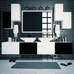 Black & White Bathroom Modular Shelving #furniture #bathroom via @TETREES