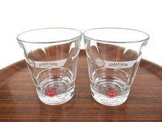 Set Of 2 Jameson Red Label Glasses, John Jameson And Son Irish Whiskey Glass Set, Vintage Lowball Barware by HerVintageCrush on Etsy