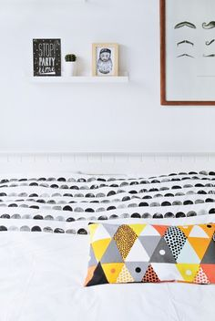 Handprinted duvet cover with potato stamp - My Attic Blog