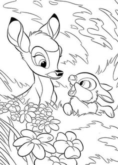 Cute Bambi Coloring Pages. Encourage your child to paint this coloring picture of Bambi. Bunny Coloring Pages, Coloring Pages For Grown Ups, Horse Coloring Pages, Free Adult Coloring Pages, Cartoon Coloring Pages, Colouring Pages, Coloring Pages To Print, Coloring Books, Disney Coloring Pages Printables