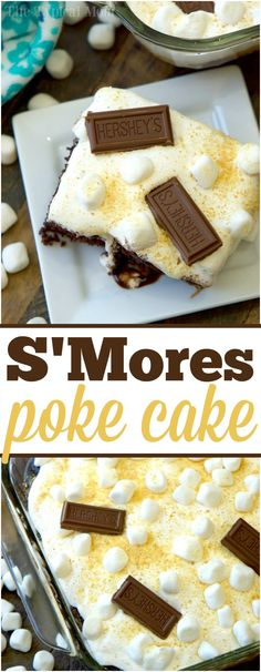 Baking Hershey's Milk Chocolate Smores poke cake with kids is not only delicious, but fun too! Covered in goodness, it's our favorite treat. via @thetypicalmom