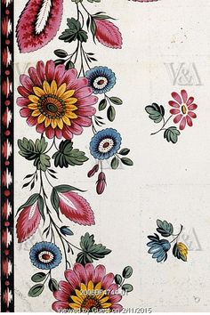 Chrysanthemum and Dahlia textile design. France, 19th century