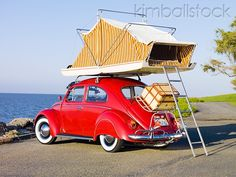 AUT 22 RK2831 01 - 1964 Volkwagen Beetle Red With Topper Tent 3/4 Rear View On Pavement By Ocean - Kimballstock