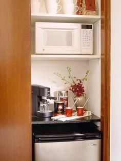 For a guest room - turn half of the closet into a hotel amenities station. Mini fridge, microwave, drink station. Great idea!