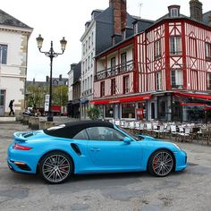 Rocking Miami blue in Normandy. #porsche #porsche911 #porscheturbo #porschelife…