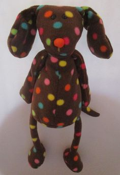 "Jellycat 17"" Brown Dog Plush Stuffed Fleece Bean Bag Polka Dot Dangle Leg Floppy #Jellycat"