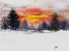 Original artwork from artist Nita Leger Casey on the Daily Painters Gallery Watercolor Sketch, Watercolour Painting, Watercolors, Original Artwork, Original Paintings, Sunrise Painting, Winter Images, Morning Sunrise, Daily Painters